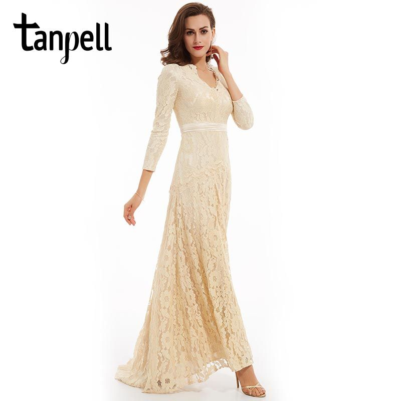 Tanpell lace long evening dress elegant champagne a line floor length dress cheap women full sleeves lace formal evening dresses