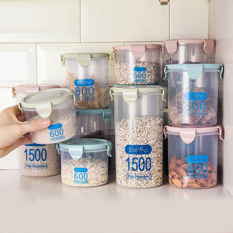 kitchen food container with lid sealed box plastic box grain fruit boxes juice storage bottle milk powder box snack sugar jar