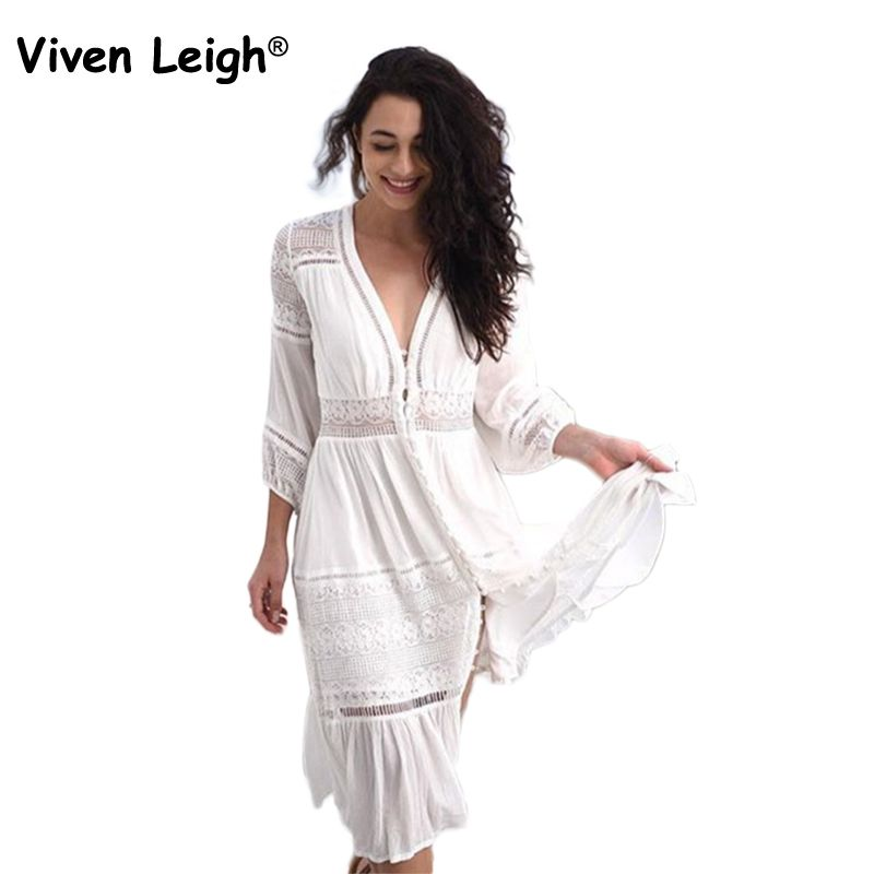 Viven Leigh White Retro Gypsy Boho Midi Dresses Women Sexy Floral Hollow Out Lace Patchwork Party Dress Bohemian Long Dress 2018