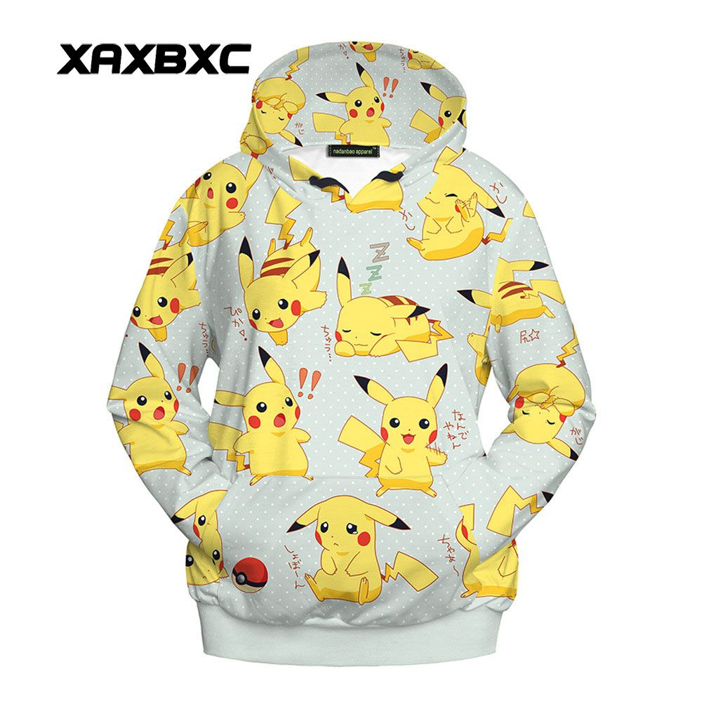 New Arrival 3001 Harajuku Girl Autumn Coat Cartoon Cute Pikachu Printed Hooded Sweatshirt Fitness Outside Women Hoodies