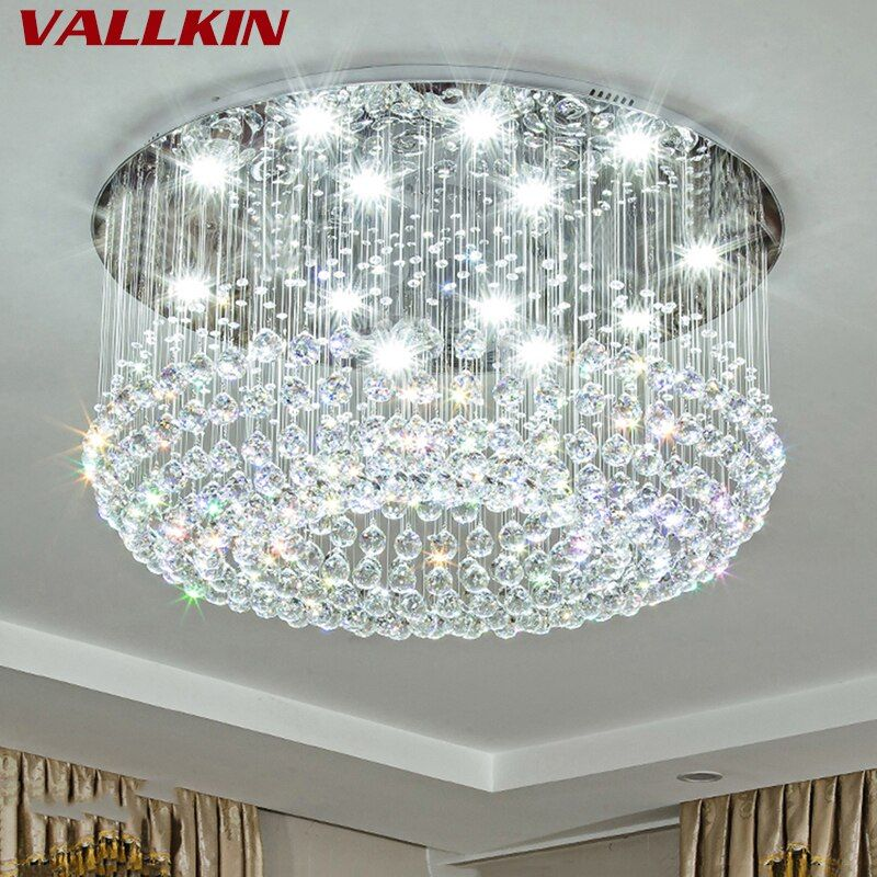 New Round LED Crystal Ceiling Light For Living Room Indoor Lamp Luminaria Home Decoration Crystalline Lights Modern Cristal