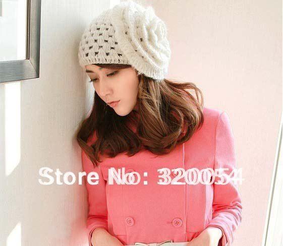 1pcs,Korean autumn winter mohair flowers adult wool caps ,white woman handmade knit hats, free shipping