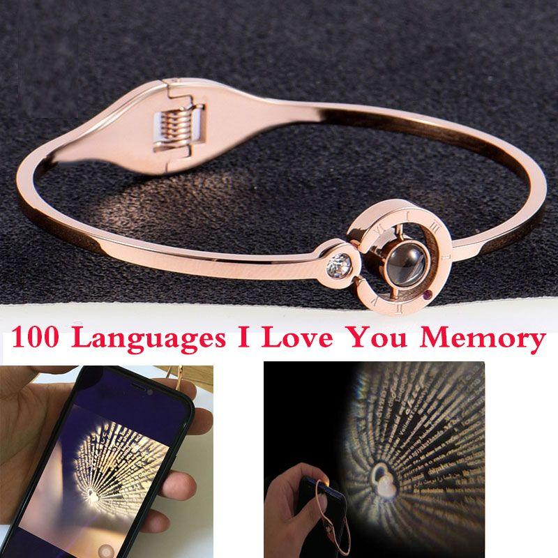 Mode Charme Femmes 100 Langues J'aime Vous Mémoire bracelet en acier Or Rose Chiffres Romains Cristal de mode bracelet
