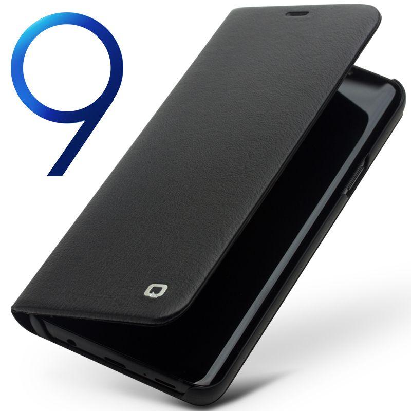 QIALINO Echtem Leder Flip Fall für Samsung Galaxy S9 Mode Luxus Ultradünne Stents Telefonabdeckung für Samsung S9 + Plus 6,2 zoll