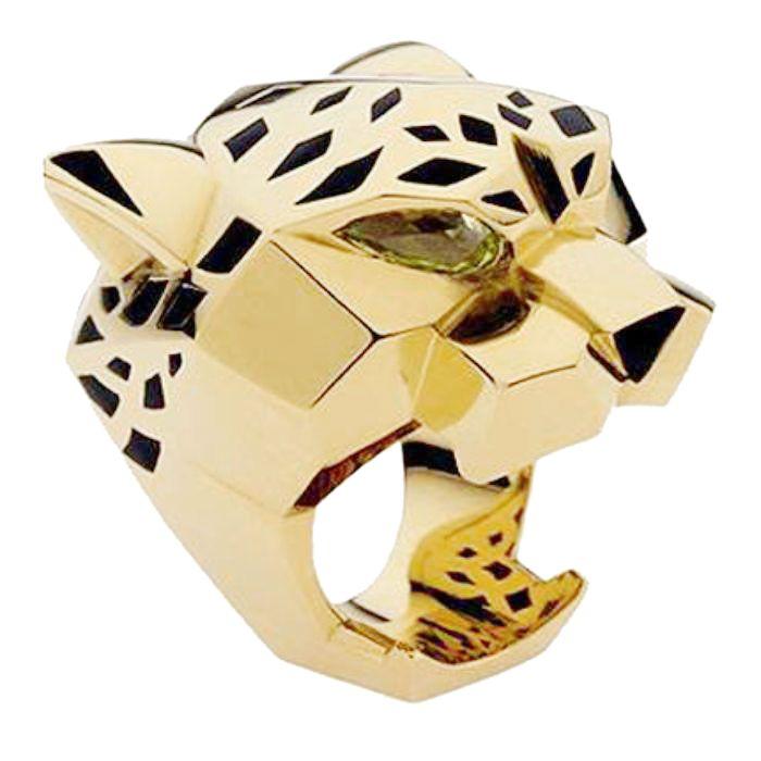 Tuliper léopard panthère Animal Cocktail anneau cubique Zircon noir émail fête anneau unisexe hommes et femmes Valentine meilleur cadeau