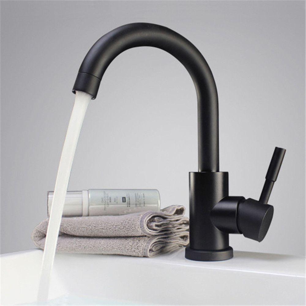 Couleur noir et blanc 304 acier inoxydable poli salle de bain bassin mélangeur double évier rotatif bassin robinet cuisine mélangeur