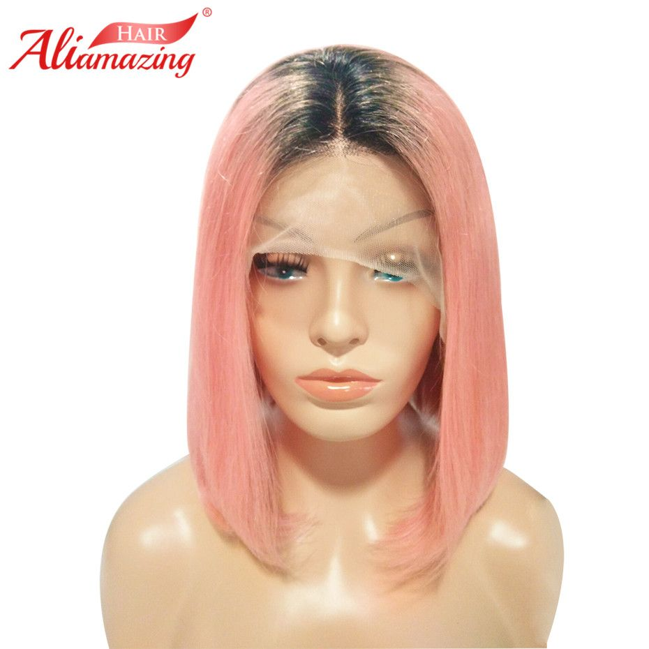 Ali Amazing Hair Dark Roots Pink Short Bob Lace Front Human Hair Wigs Pre Plucked Remy Ombre Lace Wig with Baby Hair