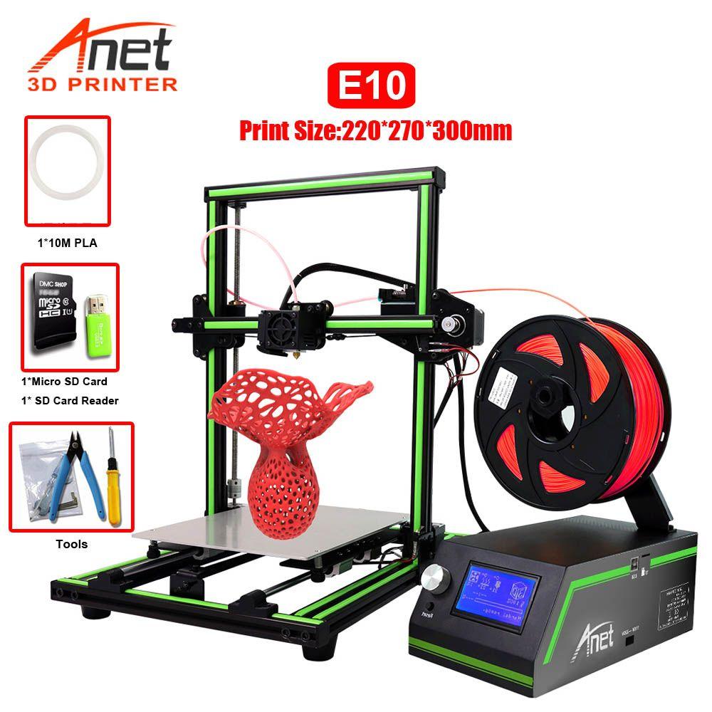 Anet E10 E12 3D Drucker Hohe Präzision Niedrigen Laut Einfache Montage DIY 3D Drucker Kit Große Druck Größe Micro SD karte USB Verbinden