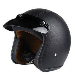 Nueva Pieles sintéticas motocicleta casco retro Cruiser chopper scooter Cafe Racer moto casco 3/4 abierto Cara casco