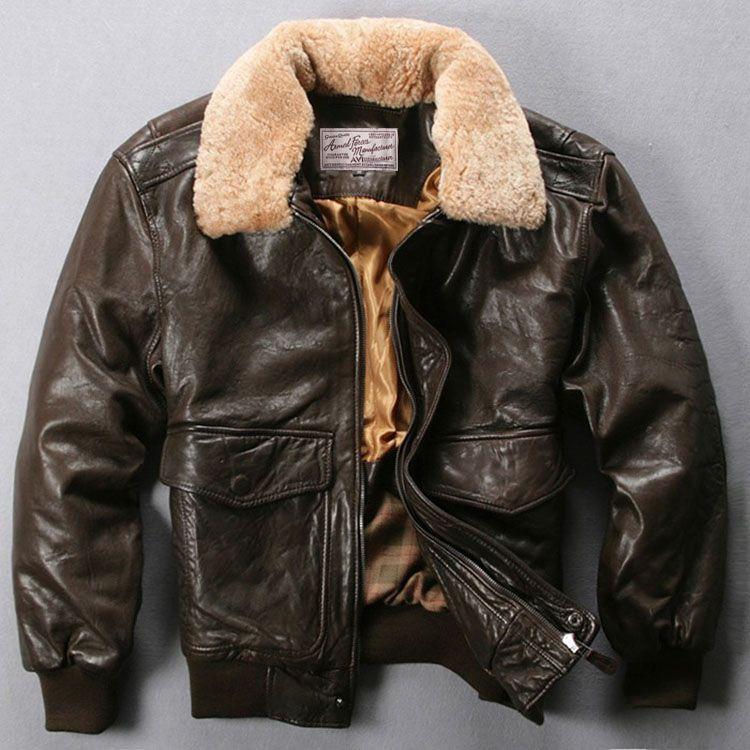 Fly Air Force Flight Jacket Fur Collar Genuine Leather Jacket Men Black Brown Sheepskin Coat Winter Bomber Jacket Male