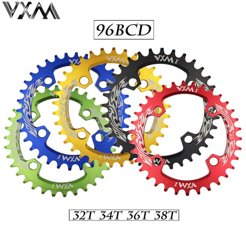 VXM manivelle de vélo et roue à chaîne 96BCD 32 T/34 T/36 T/38 T ronde étroite large anneau de chaîne vtt vélo de route pédalier roue à chaîne pièces de vélo