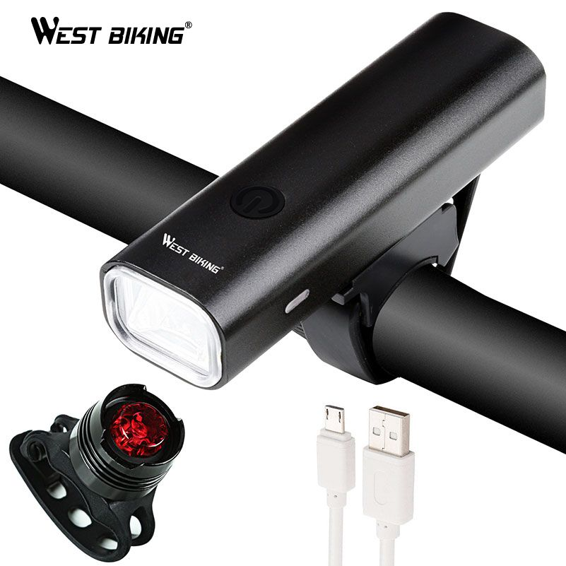 WEST BIKING 2018 Bicycle Light Waterproof Bike Torch MTB Road USB Chargeable Led Front Lamp Tail Light Set Taillight Bike Light