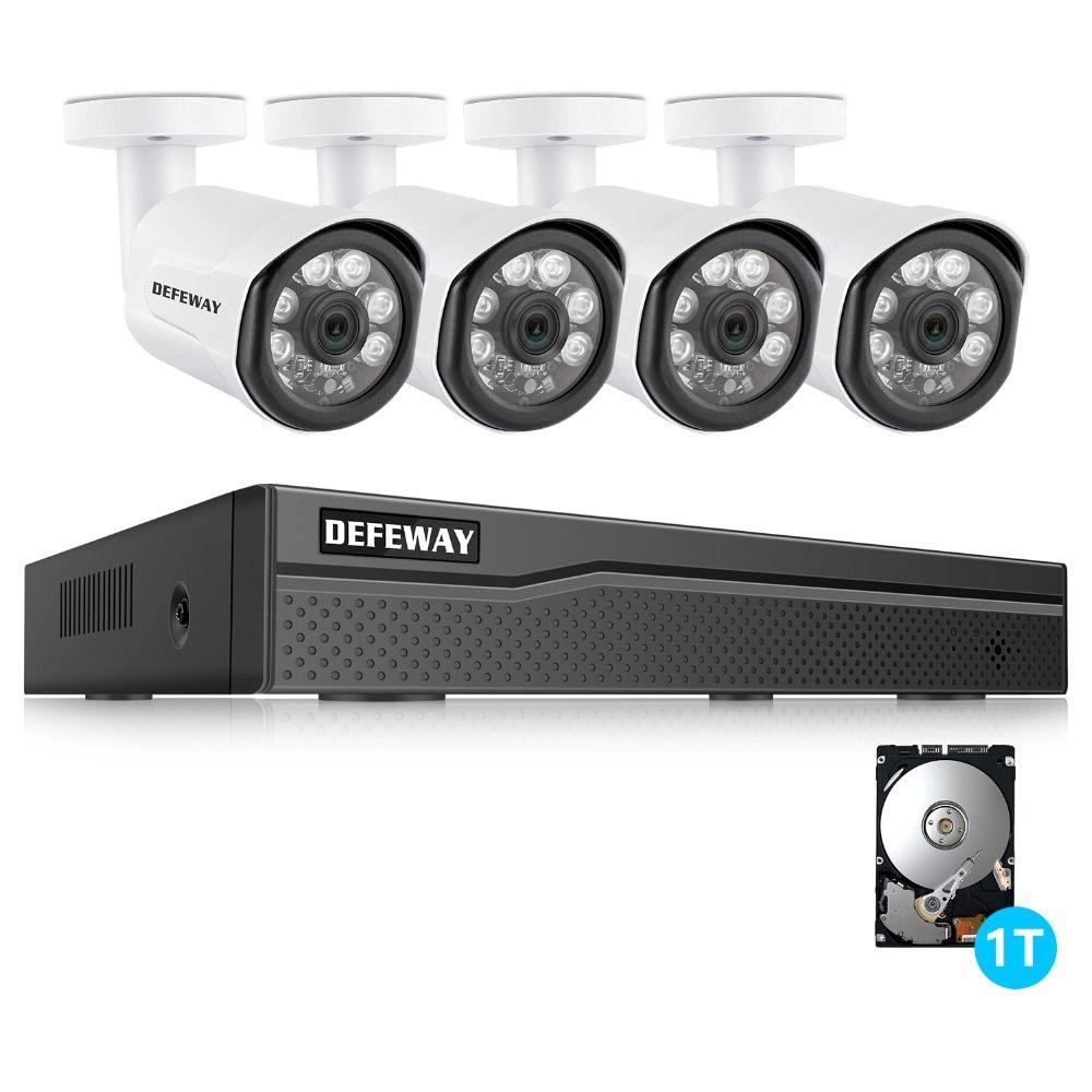DEFEWAY 8CH NVR 1080 p POE Video Rekord IR Außen CCTV Sicherheit Kamera System Home video Surveillance kit 1 tb HDD 4 Kamera Neue