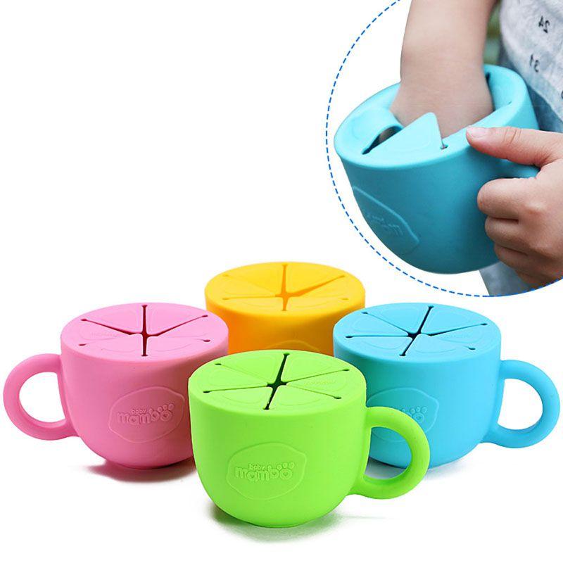 Мягкие силиконовые food чашка 450 мл Посуда для детей закуски пролитой чашка с герметичной силиконовые детские снэк-box чашка подарок на Новый г...