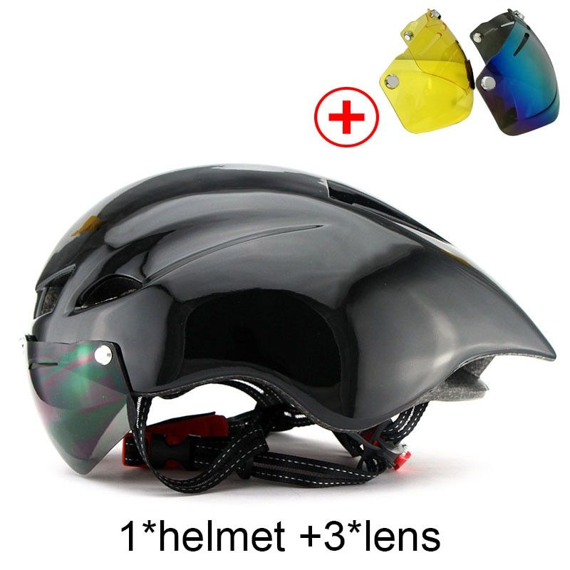 New Bicycle Helmet With Glasses 6 Colors Ultralight MTB Road Bike Helmet 56-62cm Adults Goggleses Casco Ciclismo Black Blue