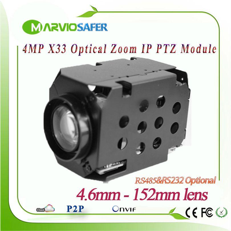 H.265 4MP 1080 p IP PTZ Netzwerk Kamera Modul 33X Optische Zoom 4,6-152mm Objektiv RS485/RS232 unterstützung PELCO-D/PELCO-P Onvif Camara