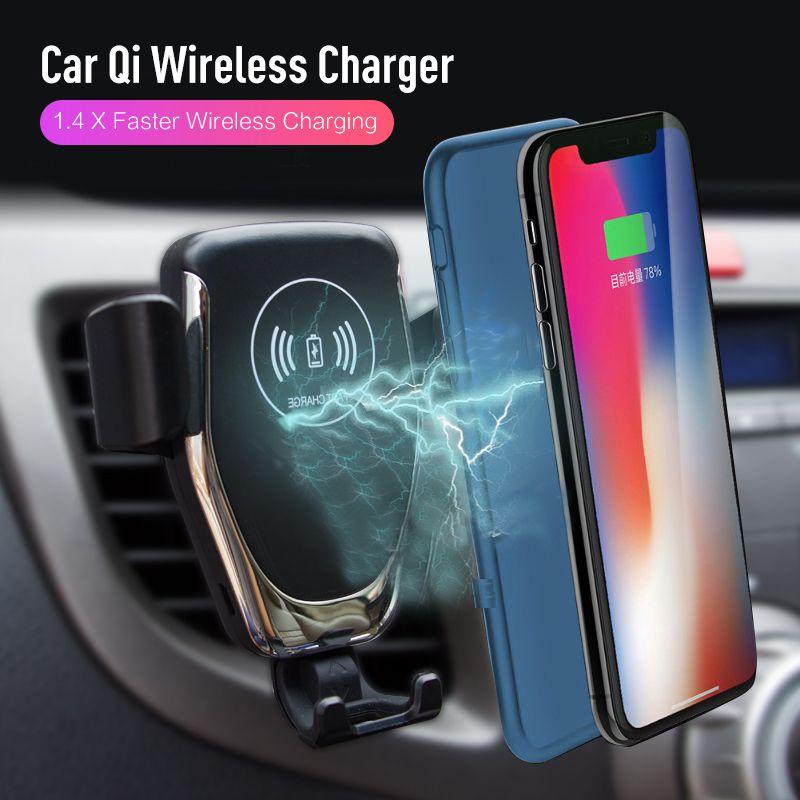Support de voiture Qi Sans Fil chargeur pour iphone XS Max X XR 8, Rapide Voiture automatique de serrage De Charge Montage Pour Samsung Huawei Xiaomi