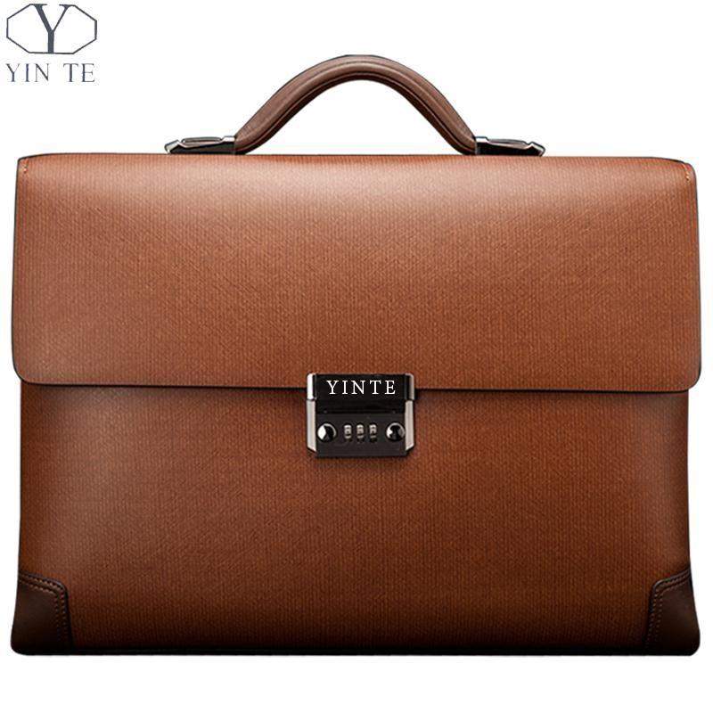 YINTE Leather Men's Briefcase Classic Business Brown Bag Lawyer Office Document Messenger Shoulder Totes Case Portfolio T8369-8