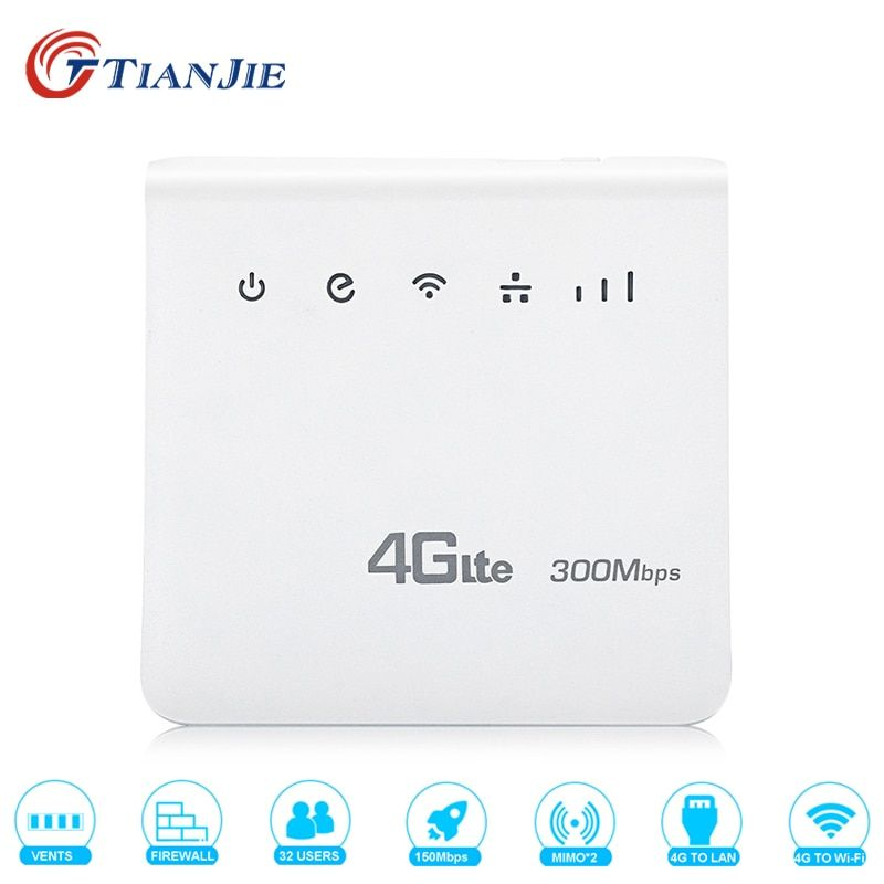 TIANJIE 4G LTE CPE Wifi Router FDD TDD Broadband 300Mbps Mobile Router Hotspot Wireless modem with SIM card Slot RJ45 LAN Port