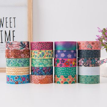5 PCS KAWAII colorful flower paper washi tape 15mm*5m DIY masking tapes for diary album scrapbooking decoration Stationery 4020