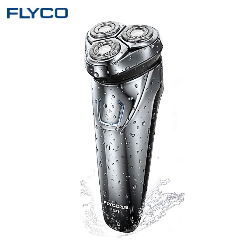 Hot FLYCO Washable Rechargeable Rotary Men's Electric Shaver Razor with 3D Floating Heads 1 Hour Quick Charge Hair Removal FS339