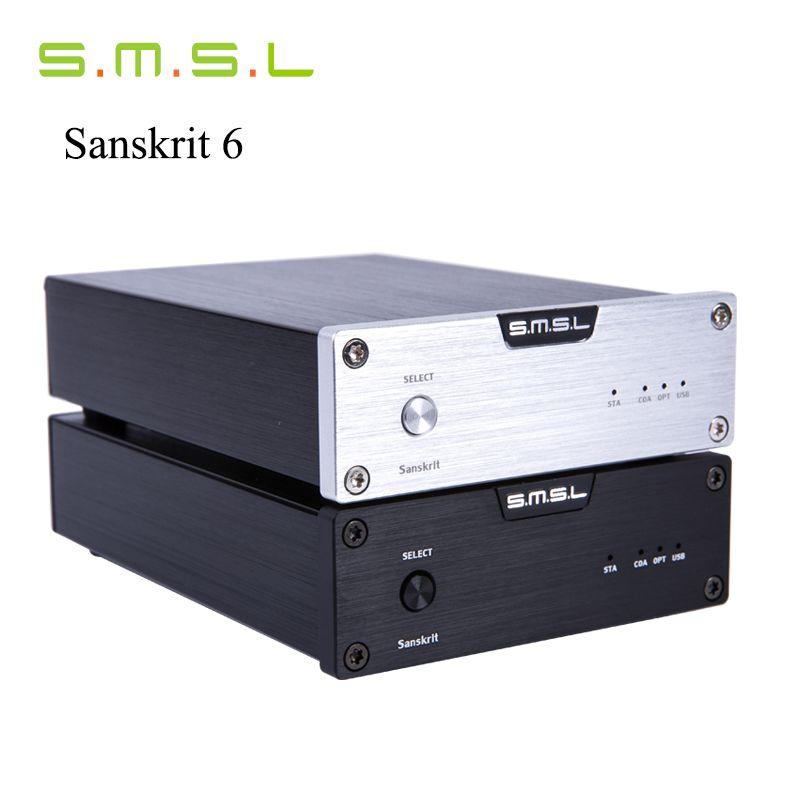 SMSL Latest 6th Sanskrit USB DAC 32BIT/192Khz Coaxial SPDIF Optical Hifi Audio Amplifier Decoder New Version With Power Adapter