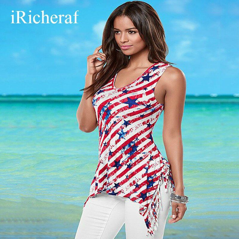 Red T-shirt For Women Sleeveless O-neck Sexy Loose Tops Vest Type Ireegular Type Tassel Printed Fashion Tee Shirt Femme Hot Sale