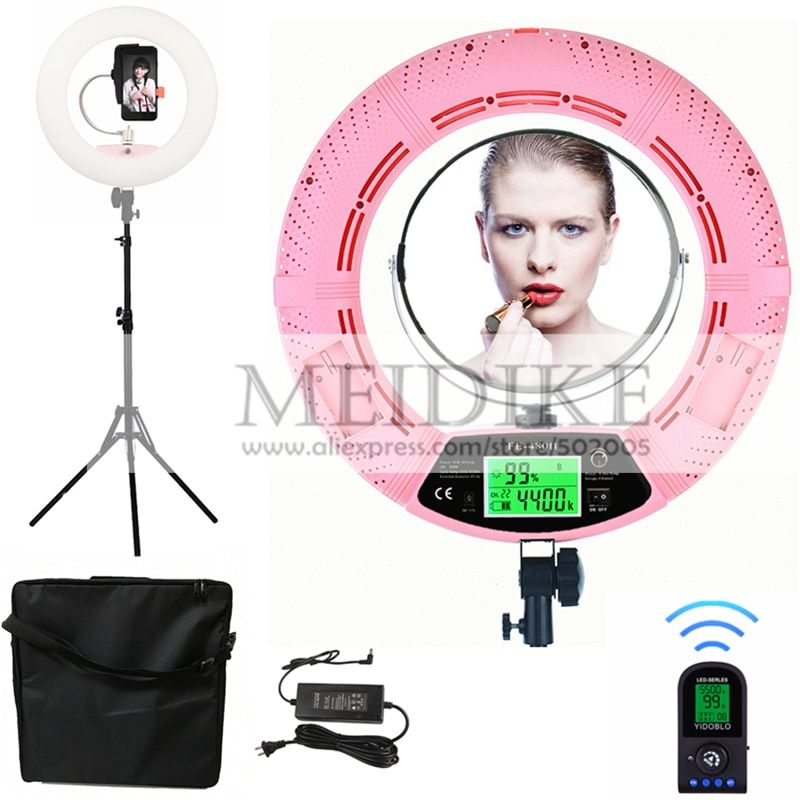 Yidoblo Pink FE-480II Bio-color Adjustable Ring Light Makeup beauty LED Ring Lamp Photographic broadcast Light + stand+ bag