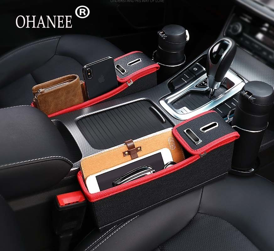 Car Seat Crevice Storage Box Grain autostoel Organizer Gap Slit filler Holder case For ford peugeot most of car accessories
