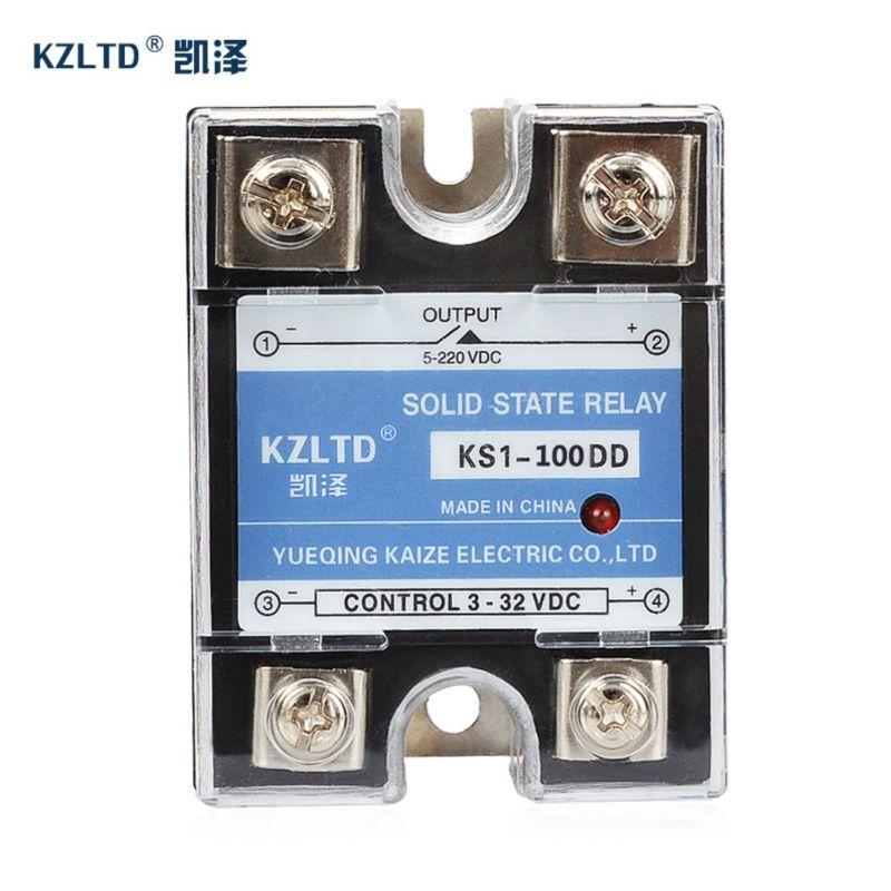 KZLTD SSR-100DD Monophasé Solid State Relais 100A DC DC Out relais 100A SSR Solid State Relais 3-32VDC à 5-220VDC Relais Perti