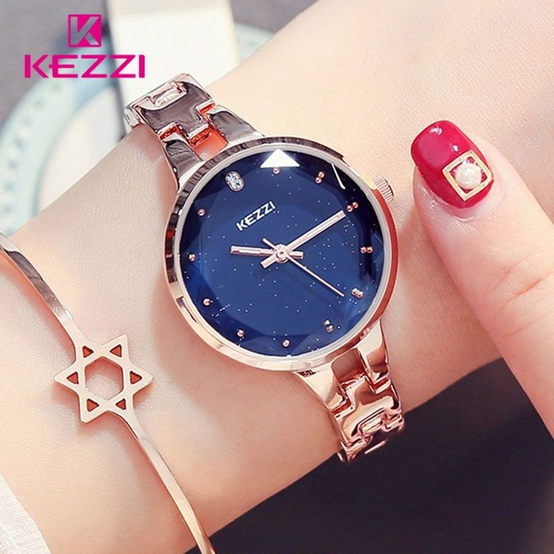 KEZZI Woman Bracelet Watches 2018 Montre Femme Luxury Bright Starry Sky Dial Clock Women Fashion Quartz Watch reloj mujer saat