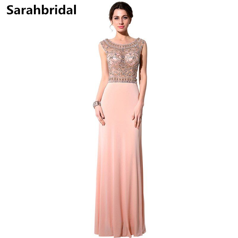 2017 Spring Summer A-Line Sexy Jewel Evening Dresses with CREPE Floor-length Sexy Back Beaded Beading Crystal Backless Gown