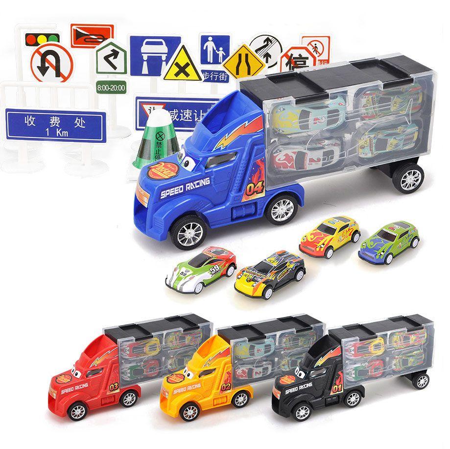 33 pièces (28 Pc panneau de signalisation + 4 Pc voiture + 1 Pc grand camion) moulé sous pression modèle voiture pour enfants cadeaux de noël voitures jouets véhicules