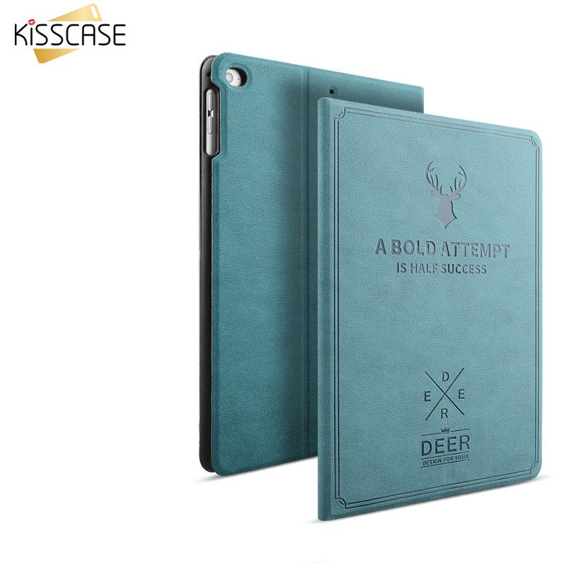 KISSCASE Cas pour iPad Air 2 1 Flip En Cuir Smart Case automatique Sommeil Éveillé Réponse Couverture Sculpture Cerfs Antichoc Pour ipad 5 6