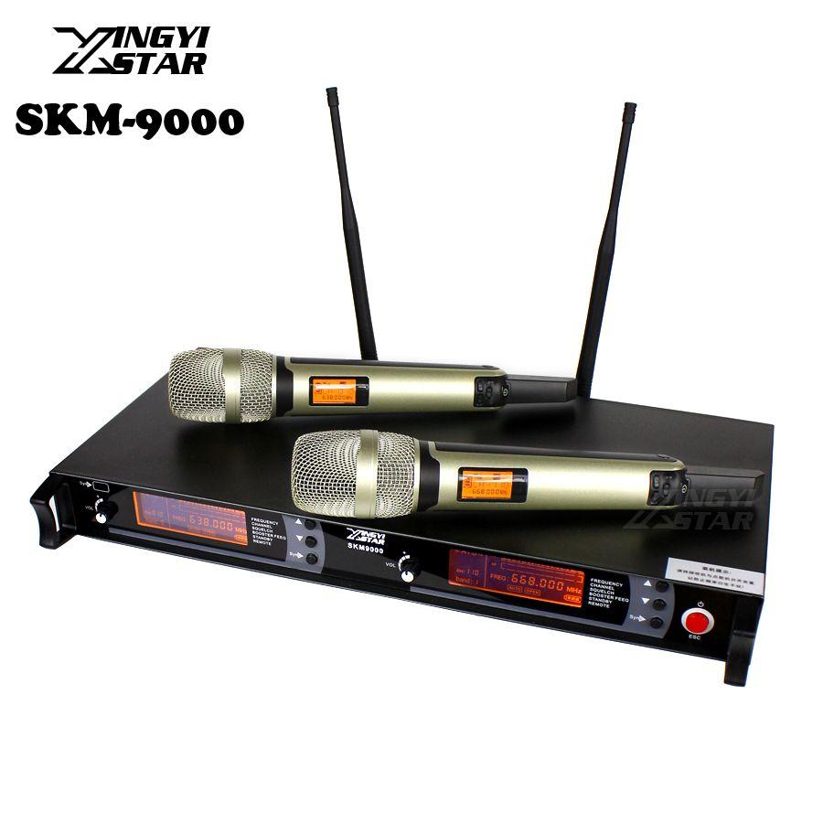 SKM9000 100 mt UHF Wireless Mikrofon Professionelle Karaoke-System Dual Schnurlose Mic 2 Kanal Empfänger KTV Microfono Inalambrico