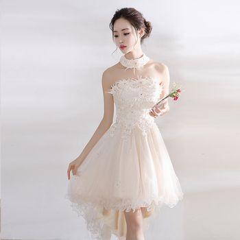 Lady Lace floral decoration short Evening Dress tulle Homecoming Party dresses Elegant Vestido De Festa Prom Gown beauty Emily