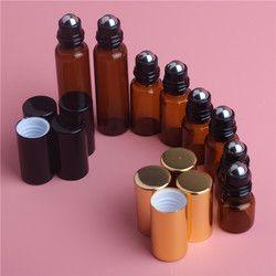 5 Pcs 1 Ml 2 Ml 3 Ml 5 Ml Amber Roll Roller Botol untuk Minyak Esensial Parfum Isi Ulang botol Parfum Wadah dengan Tutup Emas