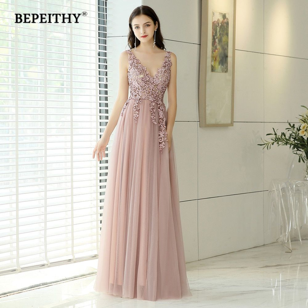 New Arrival 2019 V neck Pink Long Evening Dress Party Elegant Vestido De Festa Vintage Prom Gowns With Slit Abendkleider