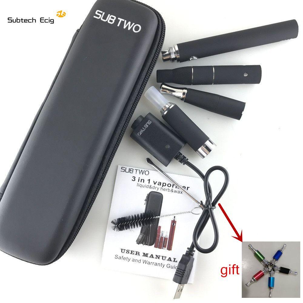 Cigarette électronique SUB deux evod 3 en 1 e cigarette vaporisateur herbe sèche cire liquide Cigarette Kit de démarrage