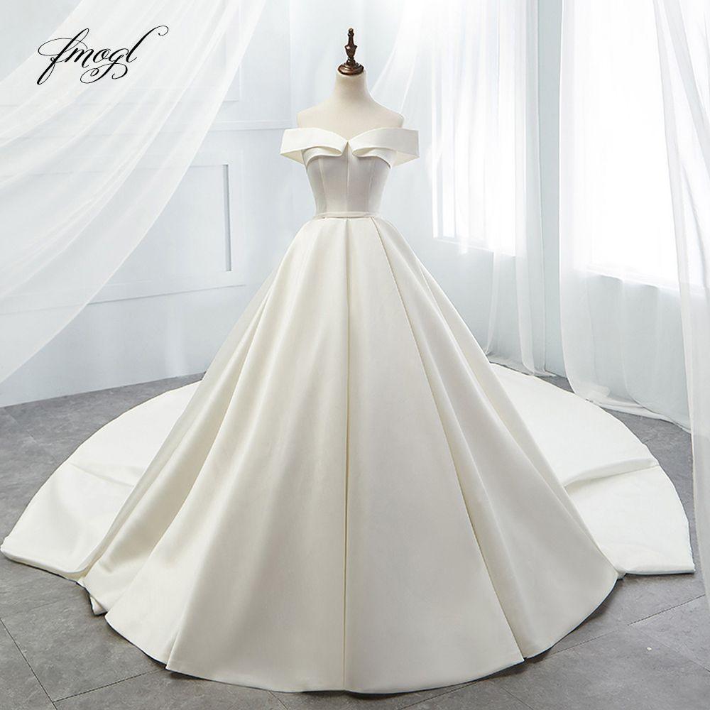 Fmogl Sexy Liebsten Einfache Ballkleid Hochzeit Kleider 2019 Royal Zug Matte Satin Braut kleid Robe De Mariage Plus Größe