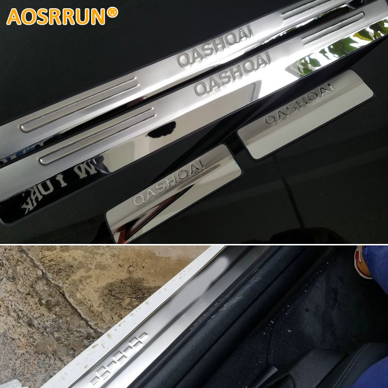 AOSRRUN stainless steel scuff plate door sill car accessories For Nissan Qashqai 2007 2008 2009 2010 2011 2012 2013