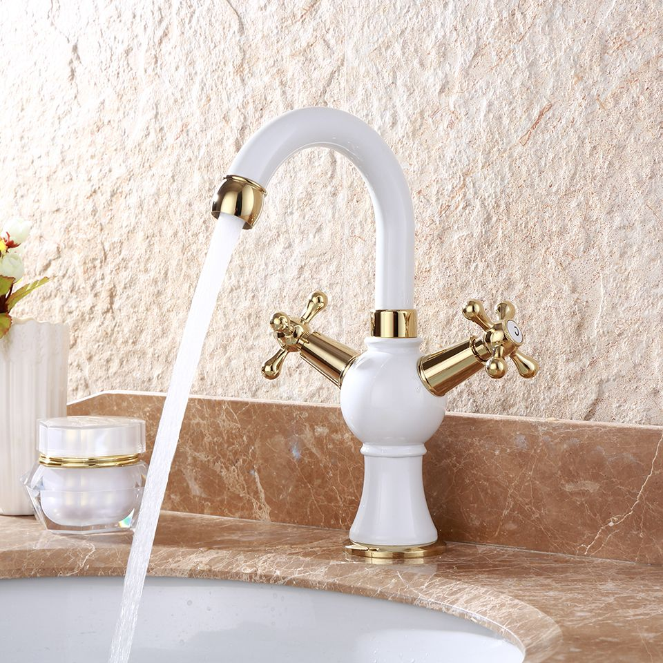 Brass Baked White Paint Dual Handle Control Ceramic Basin Faucet Crane Cock Bathroom Basin Mixer Tap Robinet