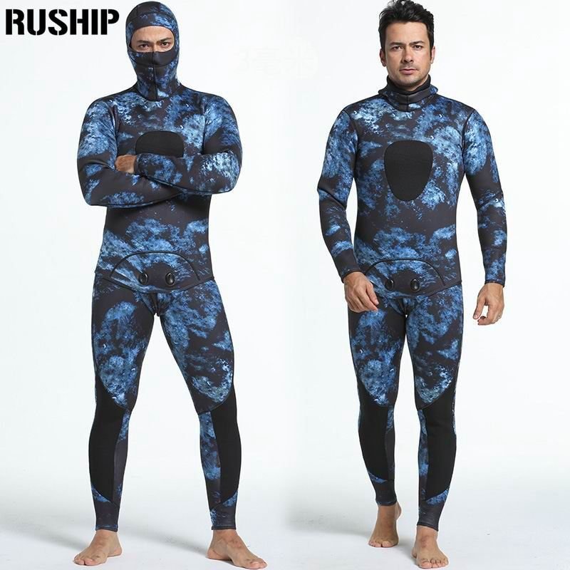Professional 3mm Diving suit neoprene men pesca diving spearfishing wetsuit snorkel swimsuit Split Suits combinaison hat surf