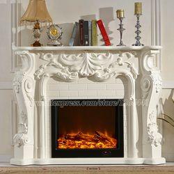 Européenne style électrique cheminée en bois sculpté cheminée cheminée W160cm LED artificielle optique flamme décoration appareil de chauffage