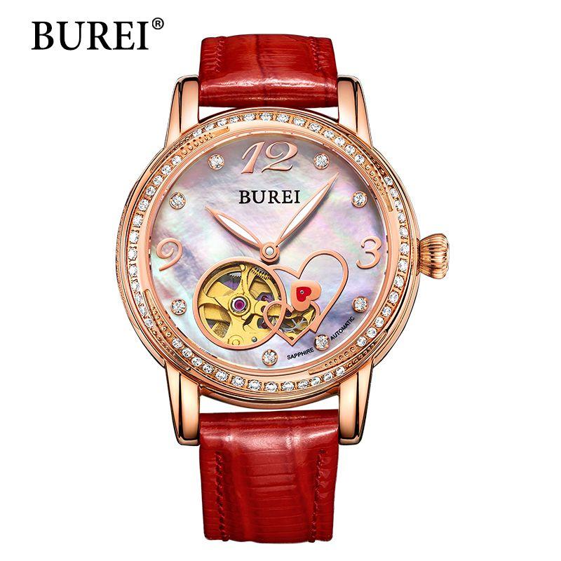 Mujeres relojes de Pulsera Mecánicos BUREI Top Brand Fashion Girl Reloj Correa de Cuero Genuina de Diamantes de Zafiro Resistente Al Agua reloj Nuevo Caliente