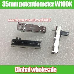 10 Pcs 231 Equalizer Fader Potensiometer/35 Mm SC-2043N W100K Lurus Geser Potensiometer/Putih Titik Titik Menangani 10 MM
