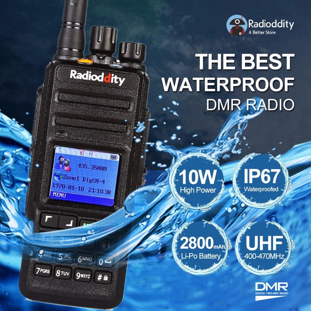 Radioddity GD-55 10-Watt High Power IP67 Waterproof DMR Digital Radio Walkie Talkie Transceiver Compatible with MOTOTRBO