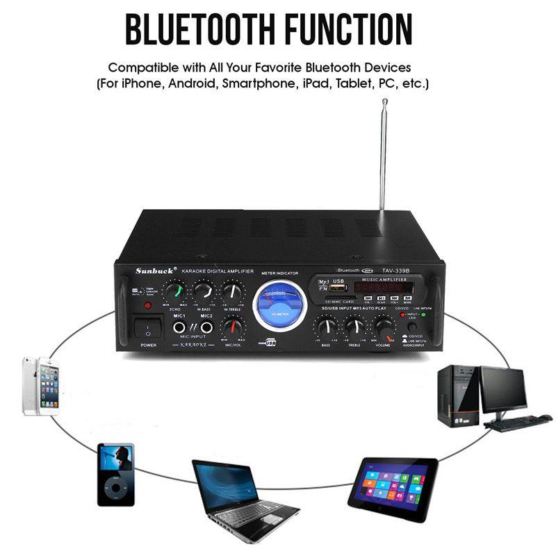 Bluetooth Stereo Empfänger Power Verstärker UNS Stecker 110 v 600 watt Audio Karaoke Hause Auto FM Verstärker Mit Fernbedienung control