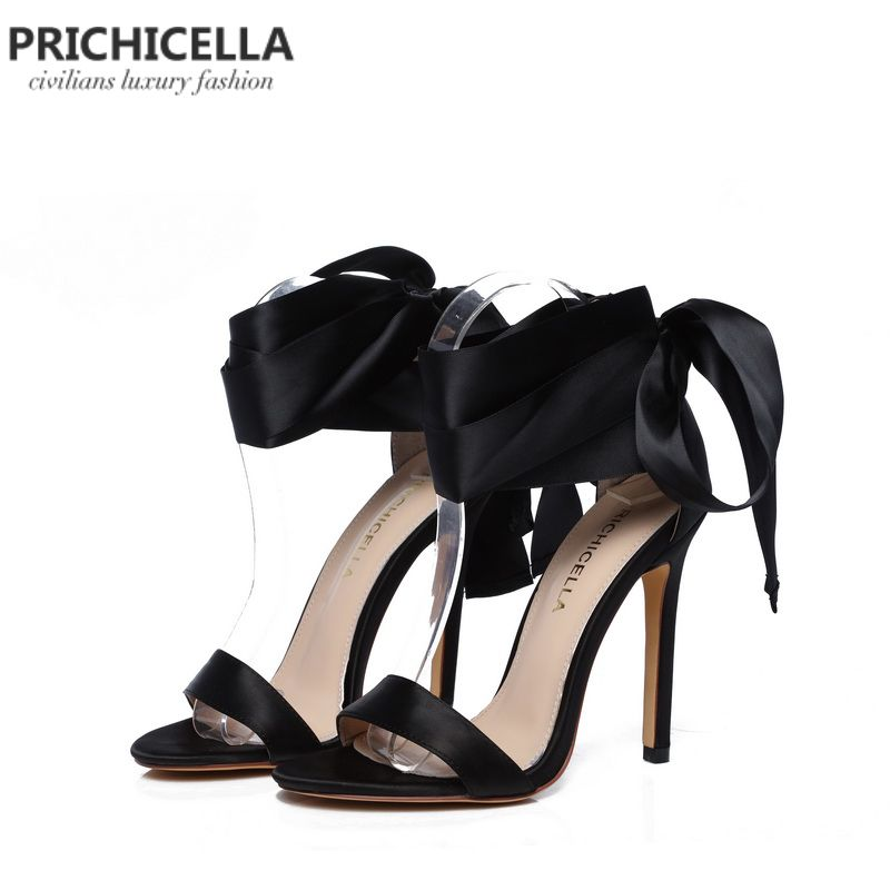 PRICHICELLA Fashion black satin lace-up ankle wrap high heel dress shoe genuine leather summer pumps