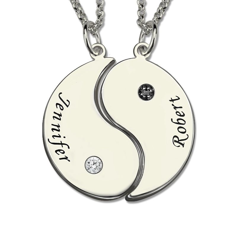 Sterling Silver Yin Yang Necklace Engraved Couple Name Pendant Yin Yang Valentine's Day Gift